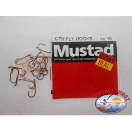 """1 pack of 25 pcs Mustad """"great deal"""" series Dry fly hooks sz.10 FC.A529"""