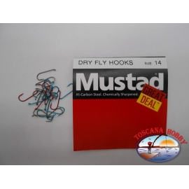 """1 pack of 25 pcs Mustad """"great deal"""" series Dry fly hooks sz.14 FC.A531"""