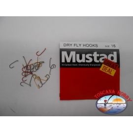 """1 pack of 25 pcs Mustad """"great deal"""" series Dry fly hooks sz.16 FC.A532"""