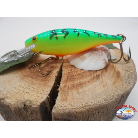 Artificial Rapala SR-8FT, Shad Rap 8cm-11gr,color Vert Fluo Tigré.FC.BR18