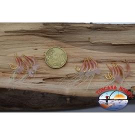15 Ami pronti per sabiki in pelle di pesce size 3, col. rosa FC.A91