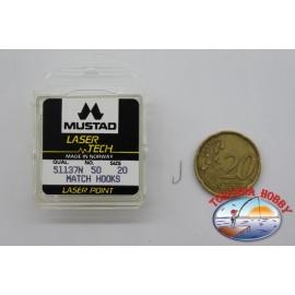 "1 confezione da 50pz ami Mustad ""laser tech"" serie 51137N sz.20 FC.A498"