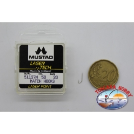 "1 packung 50pz angelhaken Mustad ""laser-tech"" - serie 51137N sz.20 FC.A498"