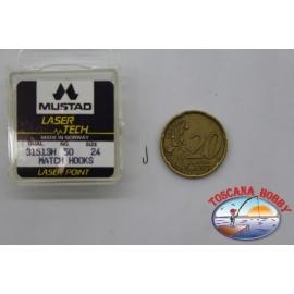 """1 packung 50pz angelhaken Mustad """"laser-tech"""" - serie 31513H sz.24 FC.A506"""