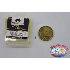 """1 packung 50pz angelhaken Mustad """"laser-tech"""" - serie 31513H sz.26 CF.A507"""