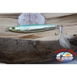 Bait, metal JIG, 30-7cm, silver green, with a stir bar, a feathery. FC.BR301