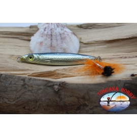 Bait, metal JIG, 18gr-6cm, with love adorned with feathers, silver black. FC.BR305