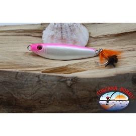 De cebo, de metal JIG, 31gr-5.5 cm, con un amor de plumas, blanco y rosado. FC.BR306