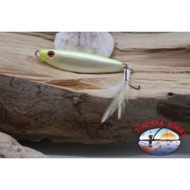 Bait, metal JIG, 31gr-5.5 cm, with a stir bar, a feathery, white yellow. FC.BR307