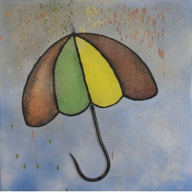 "Picture on canvas ""Umbrella"" - hand-made. QR1"