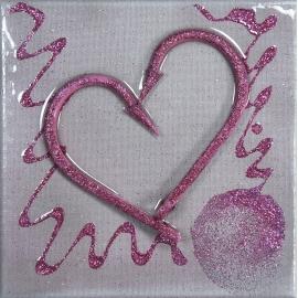 Quadro cuore rosa dimensioni 20x20. QR2