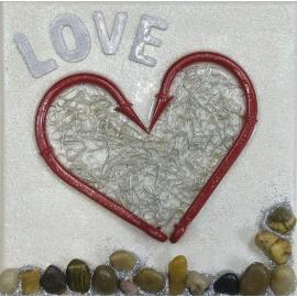 Quadro cuore rosso love dimensioni 20x20. QR5