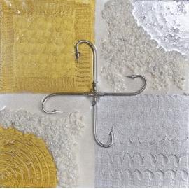 Rahmen silber und gold, größe 30x30. QR6