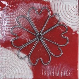 Quadro fiore rosso dimensioni 30x30. QR7