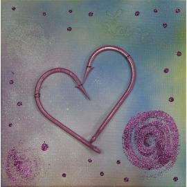 Quadro cuore rosa e glitter dimensioni 30x30. QR8