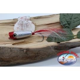 Popper avec le crochet, et les plumes, Panther Martin,4cm, col.holographique tête rouge.FC.T39
