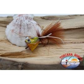 Popperino para la pesca con mosca,la Pantera Martin,2cm, col.hol. marrón rana de ojos.FC.T48