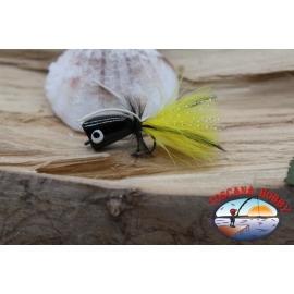 Popperino para la pesca con mosca,la Pantera Martin,2cm, col.negro/amarillo.FC.T47
