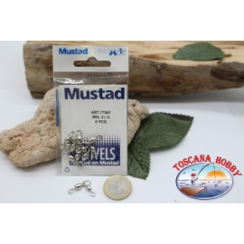 1 Bag of 6 pcs. of swivels Mustad series 77561 silver sz. 3x4 FC.G65A