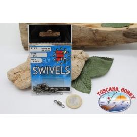 1 Packet 8 pcs. of swivels Fly Rolling swivel burnished sz. 4 FC.G69A