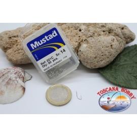 1 caja 50pcs anzuelos Mustad-cod.221C n.14 FC.B2A