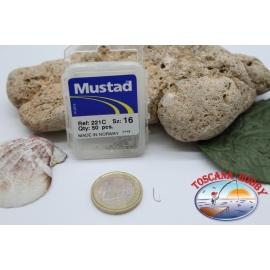 1 caja 50pcs anzuelos Mustad-cod.221C n.16 FC.B2C