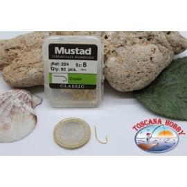 1 caja 50pcs anzuelos Mustad-cod.224 n.8 químicamente afilado FC.B3A