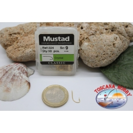 1 boîte de 50pcs hameçons Mustad cod.224 n.9 affûtée chimiquement FC.B3B