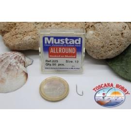 1 caja 50pcs anzuelos Mustad-cod.225 n.12, de toda la ronda de gancho FC.B5A
