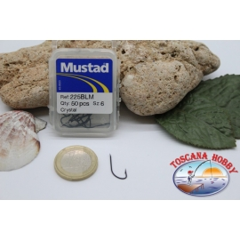 1 box 50pcs hooks Mustad cod.225BLM no.6, Crystal Hook FC.B8A