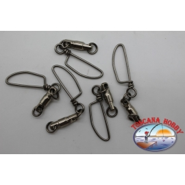 5 swivels with carabiner, steel, sz. 4/0, 8 mm-225 lb FC.G138