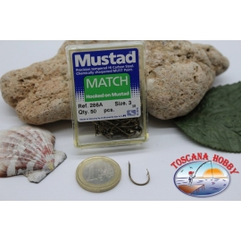 1 box 50pcs hooks Mustad cod.286A n.Match 3 Hook FC.B10A