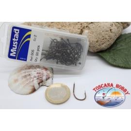 1 box 50pcs hooks Mustad cod.505 n.2 FC.B14D