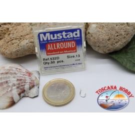 1 box 50pcs hooks Mustad cod.532D no.13 All Round FC.B16A