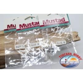 3pcs. Mazzine lisas Mustad-sz. 6 FC.A567A