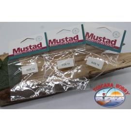 3pz. Mazzine für meeräschen Mustad sz. 14 CF.A567D