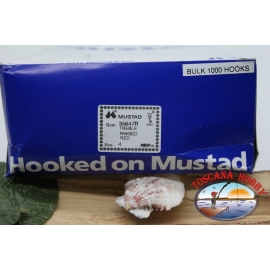 1 pack of 1000 pcs treble hooks Mustad, cod. 35647R, no.4 FC.E1D