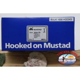 1 pack of 1000 pcs treble hooks Mustad, cod. 35647R, no.6 FC.E1E