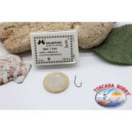 1 boîte de 100 pcs Mustad cod. 1144, n.9, kirby, limerick FC.B23A