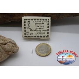 1box 100 stück angelhaken Mustad cod. 5713, nr. 20, Crystal hook, FC.B39B