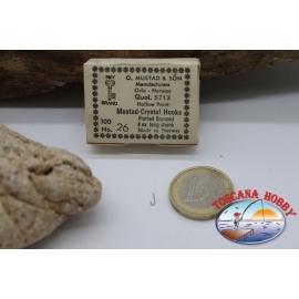 1box 100 stück angelhaken Mustad cod. 5713, nr. 26, Crystal hook, FC.B39C