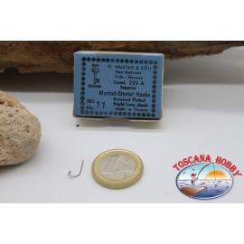 1box 100pc Mustad cod. 220 BIS, b.11 supérieure de Cristal crochets FC.B47A