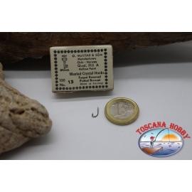 1 box-100 stück angelhaken Mustad cod. 515A, nr. 13, Crystal-Hooks FC.B51A