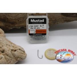 1 box 25 st. angelhaken Mustad cod. 34007, nr. 7, o' shaughnessy, öse FC.B57D
