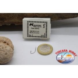 1 box 100 stk. angelhaken Mustad cod. 237C, nr. 7 -, Nickel-plated hooks, FC.B63A