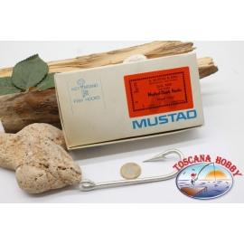 1 box 10 pz ami Mustad cod. 4480, n.1, Ringed tinned hooks, occhiello FC.B73A