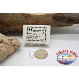 1 box 100 stk. angelhaken Mustad cod. 237C, nr. 5, Nickel-plated hooks, FC.B63B