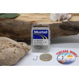 1 boîte de 50pcs hameçons Mustad cod. 92553S, pas. 8, FC.B81C