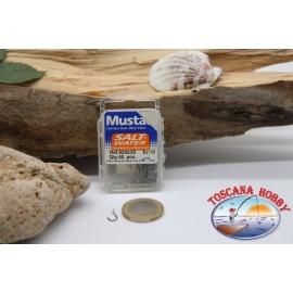 1 caja 50pcs anzuelos Mustad-cod. 92553S, no. 10, agua Salada, ganchos, ojal de la FC.B81D
