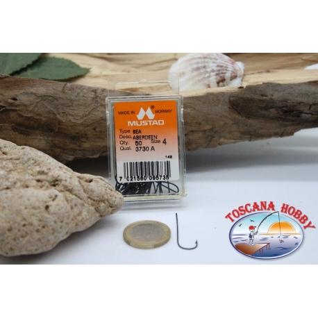 1 box 50pcs hooks Mustad cod. 3730A, no.4, Aberdeen sea hooks FC.B83C